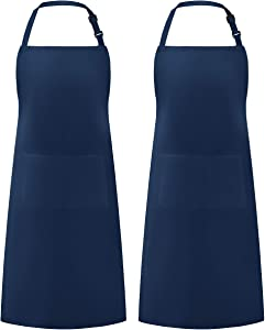 Syntus 2 Pack Adjustable Bib Apron Waterdrop Resistant with 2 Pockets Cooking Kitchen Aprons for BBQ Drawing, Women Men Chef, Nautical Blue
