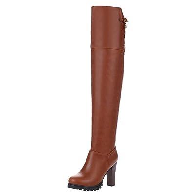 Mee Shoes Damen langschaft high heels Reißverschluss mit Strass Stiefel (35, Braun)
