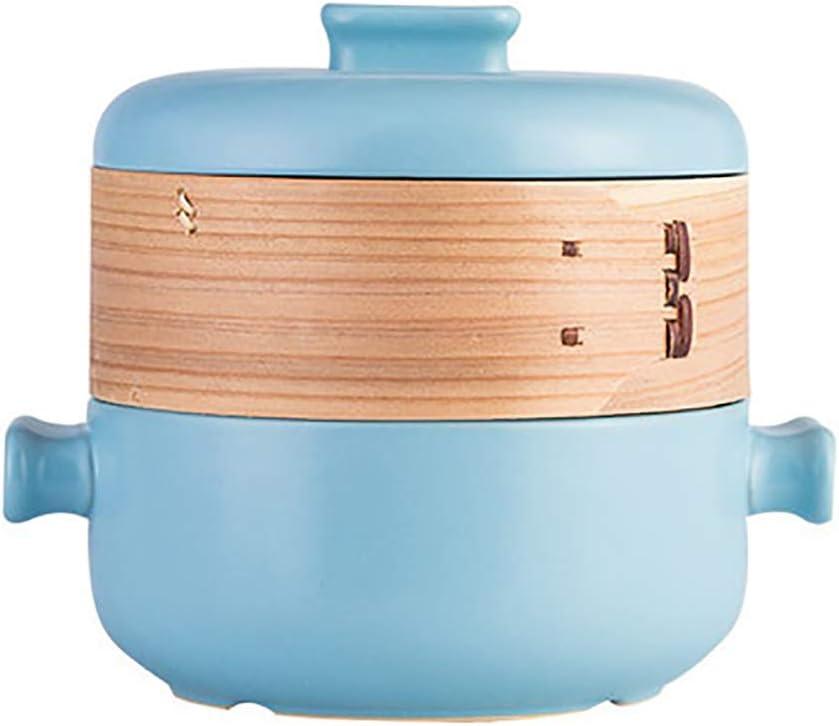 Giapponese Doppia-decker Vapore Casseruola,Fiamma Aperta Calore-resistente Vaso Di Zuppa,2.5L Domestico Vaso Stufato Ceramica Cocotte Bianca 2.5 Litro