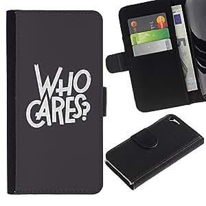 LASTONE PHONE CASE / Lujo Billetera de Cuero Caso del tirón Titular de la tarjeta Flip Carcasa Funda para Apple Iphone 5 / 5S / Who Cares Grey Text Rebel Goth