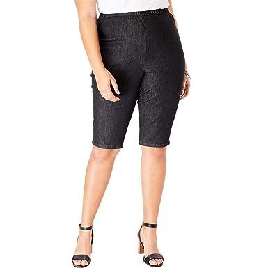 02a8096b638 Roamans Women s Plus Size Pull-On Stretch Denim Bermuda Short - Black  Denim