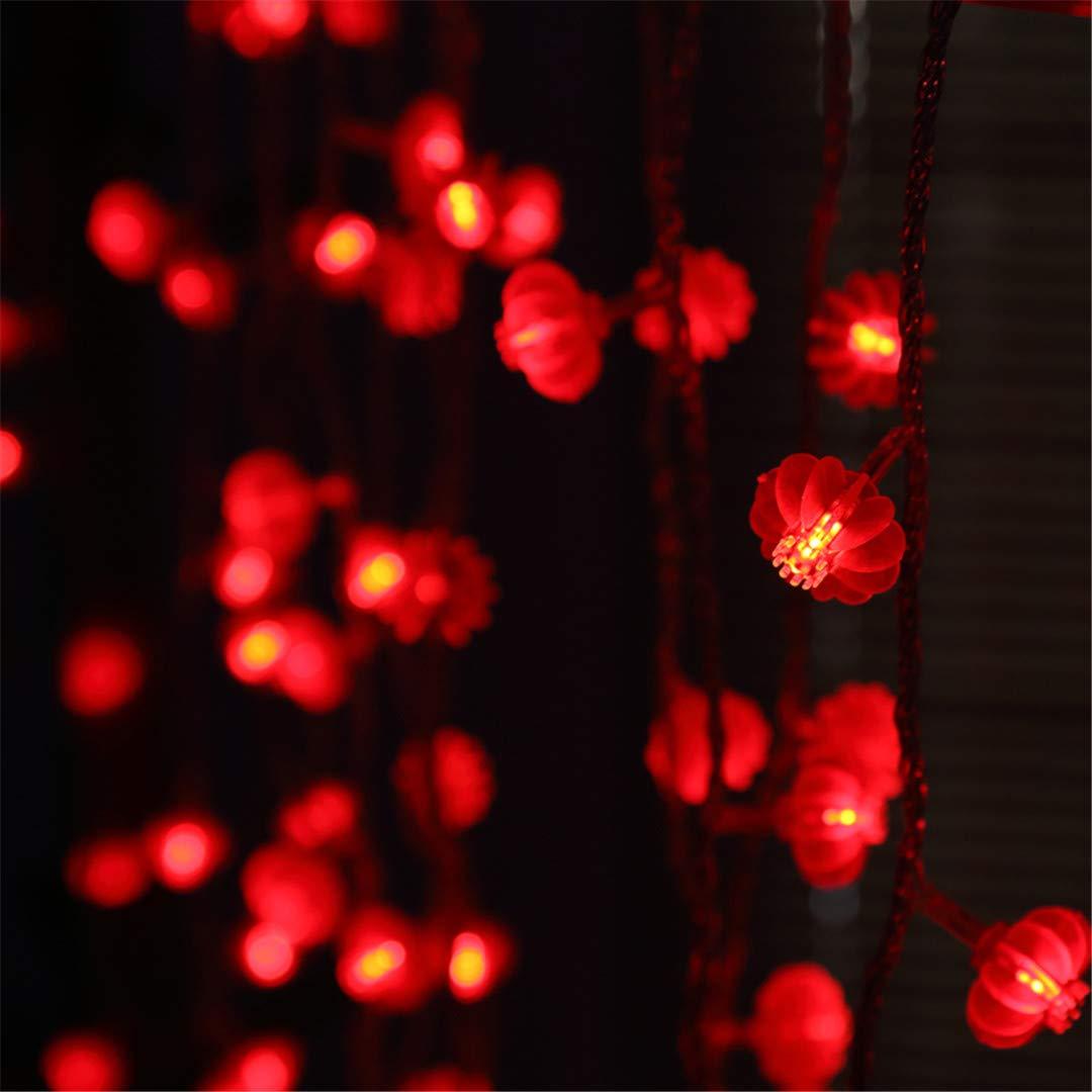 BGFHDSD 220V 110V Traditional Chinese Style Red Lantern LED String Lights Spring Festival Christmas Rope Lightsporch Decoration Lamps Red UK Plug
