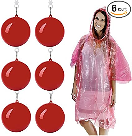 Kids Poncho Raincoat Hooded Waterproof Disposable Portable Keyring Ball Gifts w//