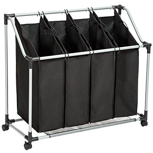 TecTake Wäschesortierer Wäschebox Wäschekorb Wäschesammler 4 Fächer Schwarz
