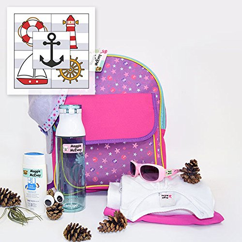 - Personalized Adventure Package Waterproof Weatherproof Stick on Laundry Safe Includes Labels and Bag Tag for Babies Kids and Toddlers (Nautical Theme)