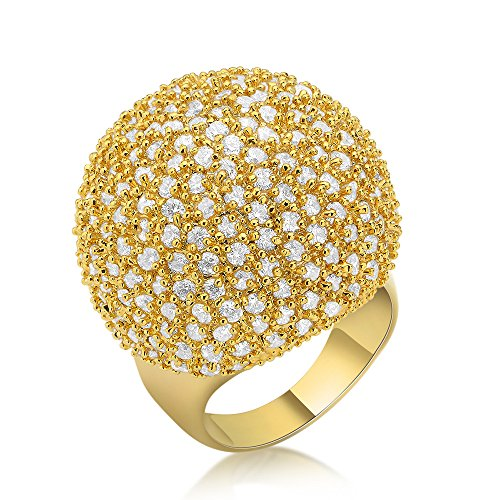 Dnswez Fashion Gold Tone CZ Cubic Zirconia Disco Ball Statement Cocktail Dome Ring (8) (Tone Ring Cocktail Gold)