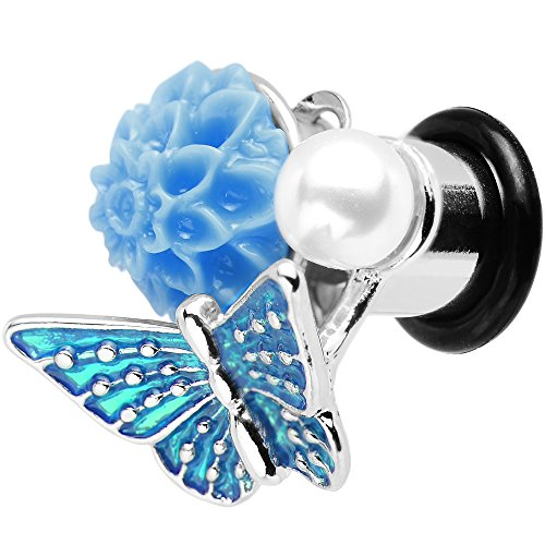 Body Candy 0 Gauge Blue Acrylic Flower Brilliant Blue Butterfly Single Flare Steel Ear Gauge Plug (1 Piece)