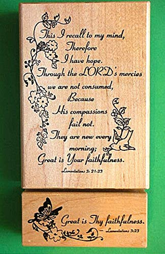 ''Great is Thy Faithfulness'' Rubber Stamp Wood Mounted Set of Two - Rubber Stamp Wood Carving Blocks by Wooden Stamps