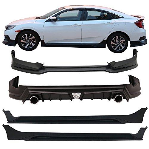 Front Bumper Lip + Rear Diffuser + Side Skirts Fits 2016-2018 Honda Civic | MUG Style Black PP 10th Gen Air Dam Chin Spoiler Lip by IKON MOTORSPORTS | 2017