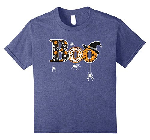 Homemade Halloween Witch Decoration (Kids Boo Halloween T-Shirt With Spiders And Witch Hat 8 Heather Blue)