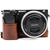CEARI PU Leather DSLR Camera Half Case Bottom Mount for Sony Alpha A6000 A6300 - Coffee