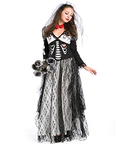 Dark Bride Costumes (Womens Halloween Outfit Ghost Bride Costumes Devil Cosplay Fancy Dress Skeleton Long Dress)