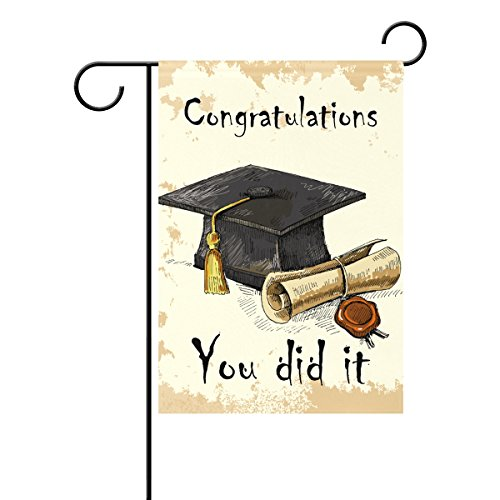ALAZA Duble Sided Hand Draw Graduation Cap and Diploma Celebrate You Did It Summer Grad Season Polyester Garden Flag Banner 12 x 18 Inch for Outdoor Home Garden Flower Pot Decor -