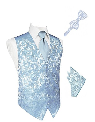 Light Blue Tapestry Satin Tuxedo Vest with Long Tie Bowtie and Pocket Square Set