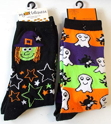 Halloween Socks Witch Stars Ghosts Spiders Striped Lot 2 Womens 4-10 -