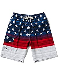 cd7fb51ca8 Men's Swim Trunks Quick Dry Beach Board Shorts Drawstring Lightweight with Elastic  Waist and Pockets