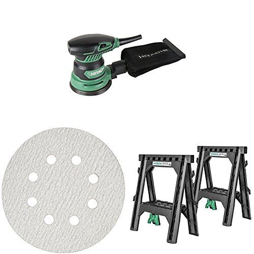 "Hitachi SV13YST 5"" Finishing Sander, 308519 Sanding Paper 5 Pack, and 115445 Sawhorses 2 Pack"