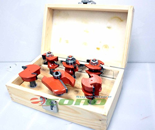 6pc Straight Angle Raised Panel Carbide Router Bit Set Tipped Kitchen Door (Angle Raised Panel Router Bit)