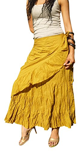 Billy's Thai Shop Sexy Wrap Skirt Pleated Gypsy Flamenco Long Skirts for Women, Gold S