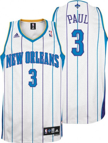 new style 849a1 3bcc2 adidas Chris Paul Jersey White Swingman #3 New Orleans Hornets Jersey