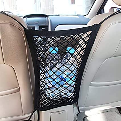 Sisenny Car Seat Storage Mesh Organizer 3 Layer Back Seat Elastic Cargo Net Bag for Tissue Purse Luggage Pets Children Kids Barrier Disturb Stopper
