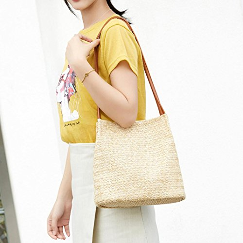 Women Handbag for Bags White Weaving Hasp Messenger Bags Bucket Brown Travel Shoulder Bag Summer Bag Big WnOUpnqXA
