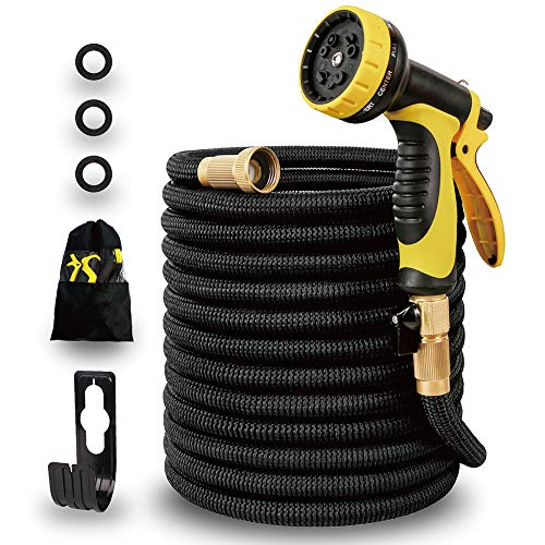 Expandable and Flexible Garden Water Hose 50ft-[Upgraded 2019]Natural 9 Latex Core,Super Strong Brass Connectors,10 Function Spray Nozzle,3750D Super Strength Fabric, for Home,Car,Pet,Flower
