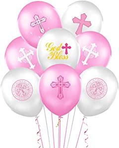 30 Pieces Pink Baptism Balloons Party Supplies Decorations, First Communion Party Decorations for Girl Christening Decoration Kit for Baby Shower First Birthday Decor Christening Wedding Party Favors
