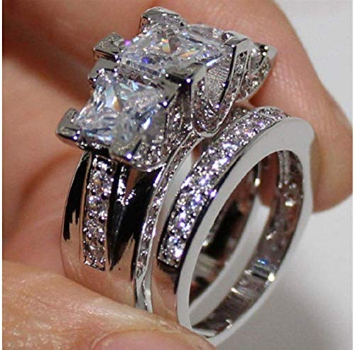 Weishu Bridal Set Engagement Wedding Ring in Sterling Silver Princess Cut Cubic Zirconia Personalized Diamond Ring (Unisex) (US Code 8)
