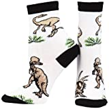 Animal World - Dinosaurs Walking In Grass Youth Socks - Medium White