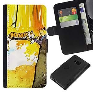 HTC One M7 - Dibujo PU billetera de cuero Funda Case Caso de la piel de la bolsa protectora Para (Tiger T1Gger Adventure)
