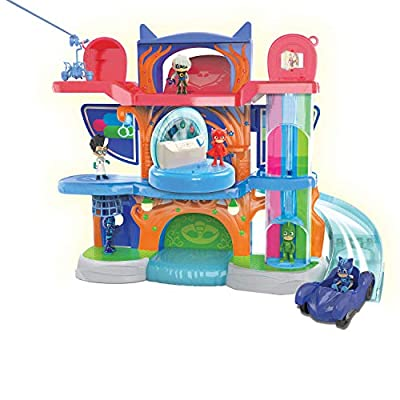 PJ Masks Deluxe Headquarters Playset ( Exclusive) & Just Play Vehicle Gekko and Gekko-Mobile: Toys & Games