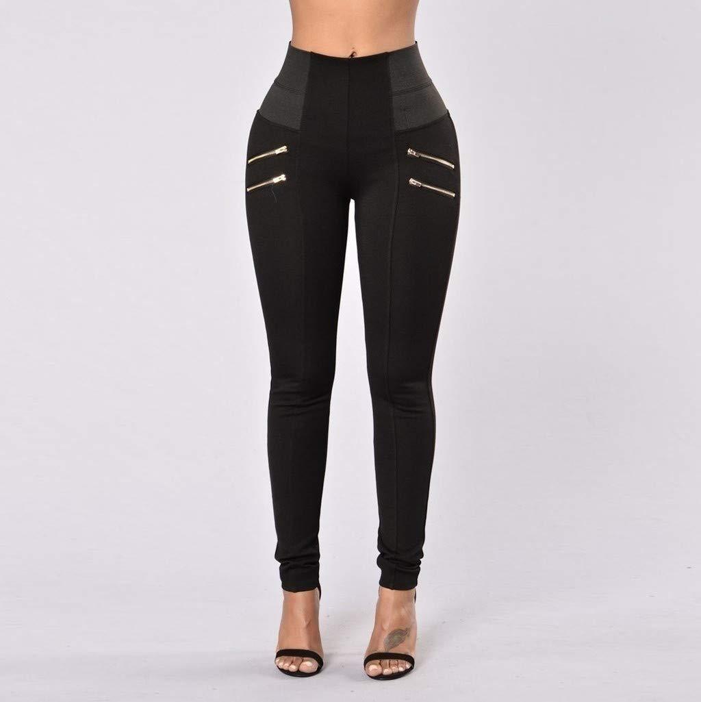 Workout Shorts for Women Plus Size Cotton, Yoga Pants for Women Large,Womens Leggings Elastic Trousers Thin Zipper Solid Mid-Calf Plus Size Pants by Makeupstory (Image #2)