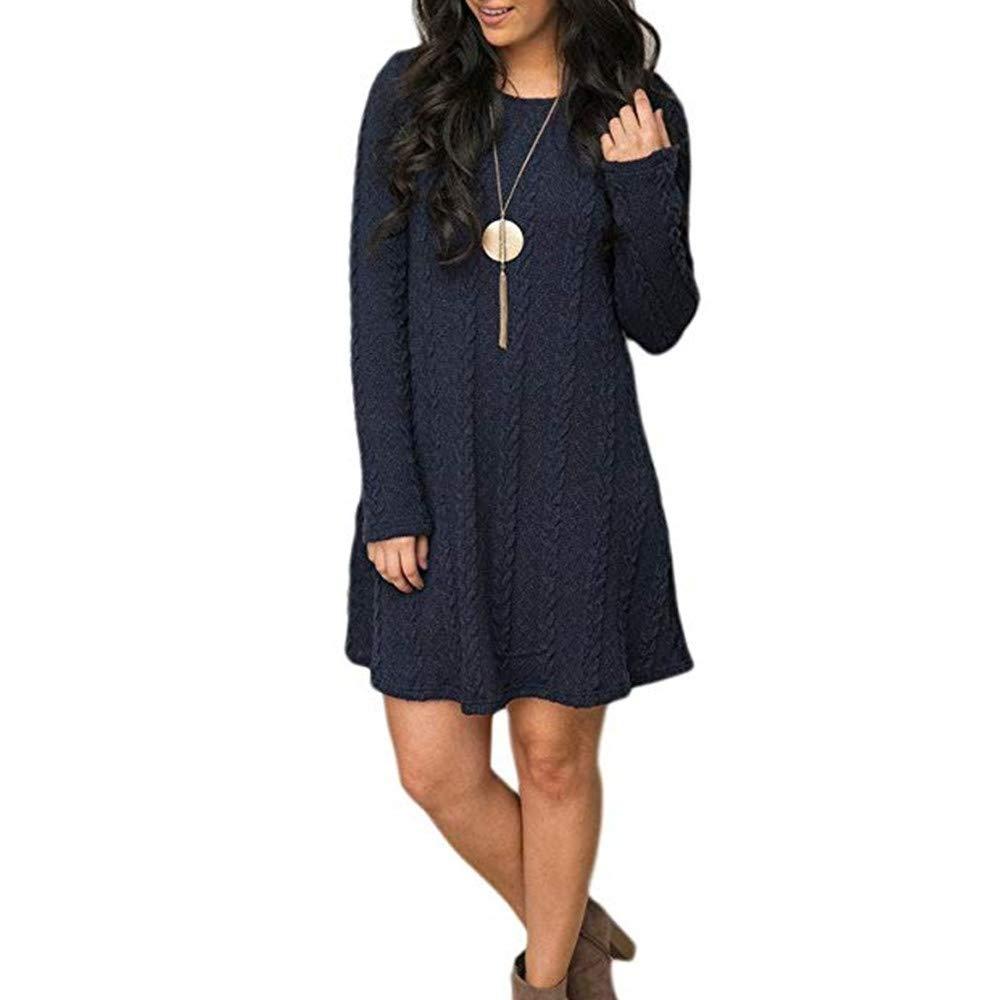 bluee HaoKe Women's Autumn Winter LongSleeved Slim Knitted Sweater Dress