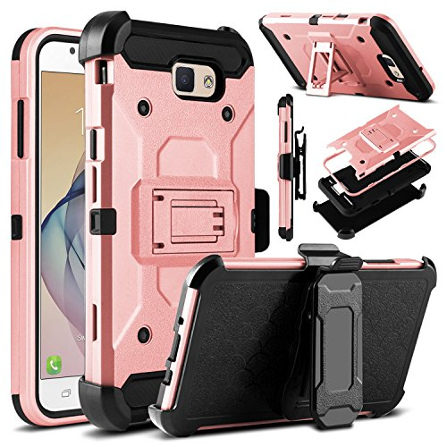 Galaxy J7 V Case, Galaxy J7 Perx Case, Galaxy J7 Sky Pro Case, Venoro Heavy Duty Shockproof Rugged Protection Case Cover with Belt Swivel Clip and Kickstand for Samsung Galaxy Halo/J7 2017(Rose Gold)