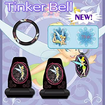 6 Pc Car Accessories Tinkerbell Optical Tink Seat Covers Steering Wheel