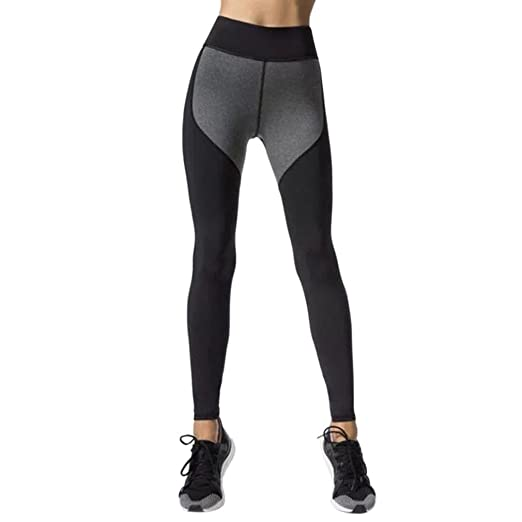 886e6d7d52f Women s Workout Leggings Color Block Tights Sports Gym Running Yoga  Athletic Pants (Dark Gray