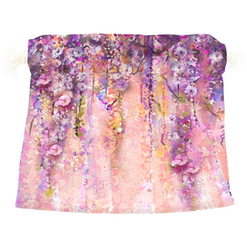 Dragon Sword Pink Violet Watercolor Flowers Painting Wisteria Tree Gift Bags Jewelry Drawstring Pouches for Wedding Party, 12x14 Inch