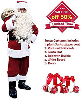 VeMee Christmas Santa Costume Santa Claus Suit Holiday Santa Cosplay Costumes For Men