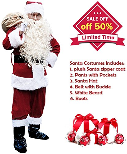 Plush Santa Claus Suit Adult Costumes (Santa Suit Men's Adult Christmas Santa Suit Costumes Holiday Cosplay Cute Costumes Outfits Vintage Plush 6 pieces Complete Santa Claus Christmas Suit Costumes, (Burgundy), One Size)