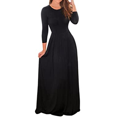 39366a149bb Reaso Robe Longue Femme Maxi Robe Elegant Manche Longue Taille Haute Col  Rond Vintage Chic Robe