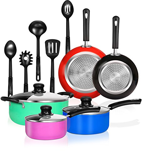 13 Pieces Kitchen Cookware Set – Pots and Pans Set with Cooking Utensils – Double Nonstick Coating – Induction Bottom – Riveted Handles – Utopia Kitchen