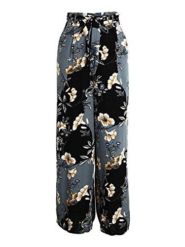 Semplice Pantaloni Elegante HaiDean Pantaloni Culotte Pantaloni Estivi Glamorous Modello Fiore High Baggy Waist Blau Pantaloni Pantaloni Tempo Donna Libero Comodo Palazzo Spiaggia qwC6C5S