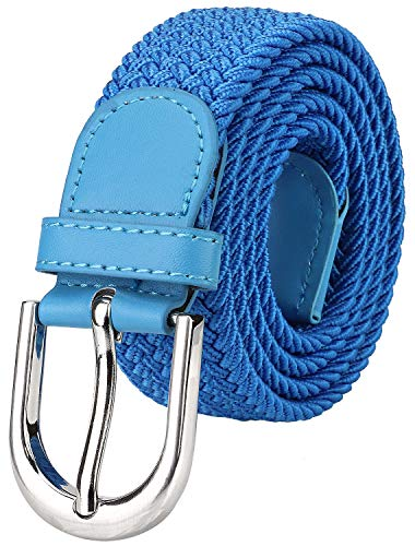 Falari Men Women Canvas Elastic Fabric Woven Stretch Braided Belt - Blue-Small ()