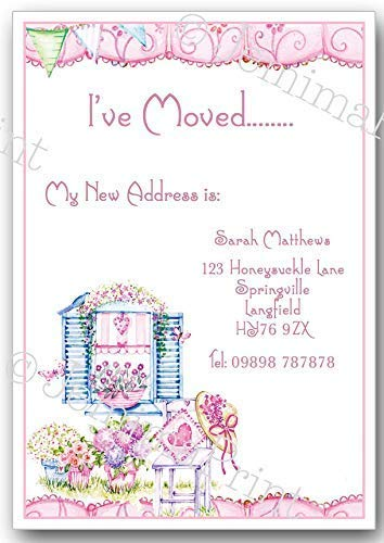 10 Personalised change of address cards new home with envelopes J241