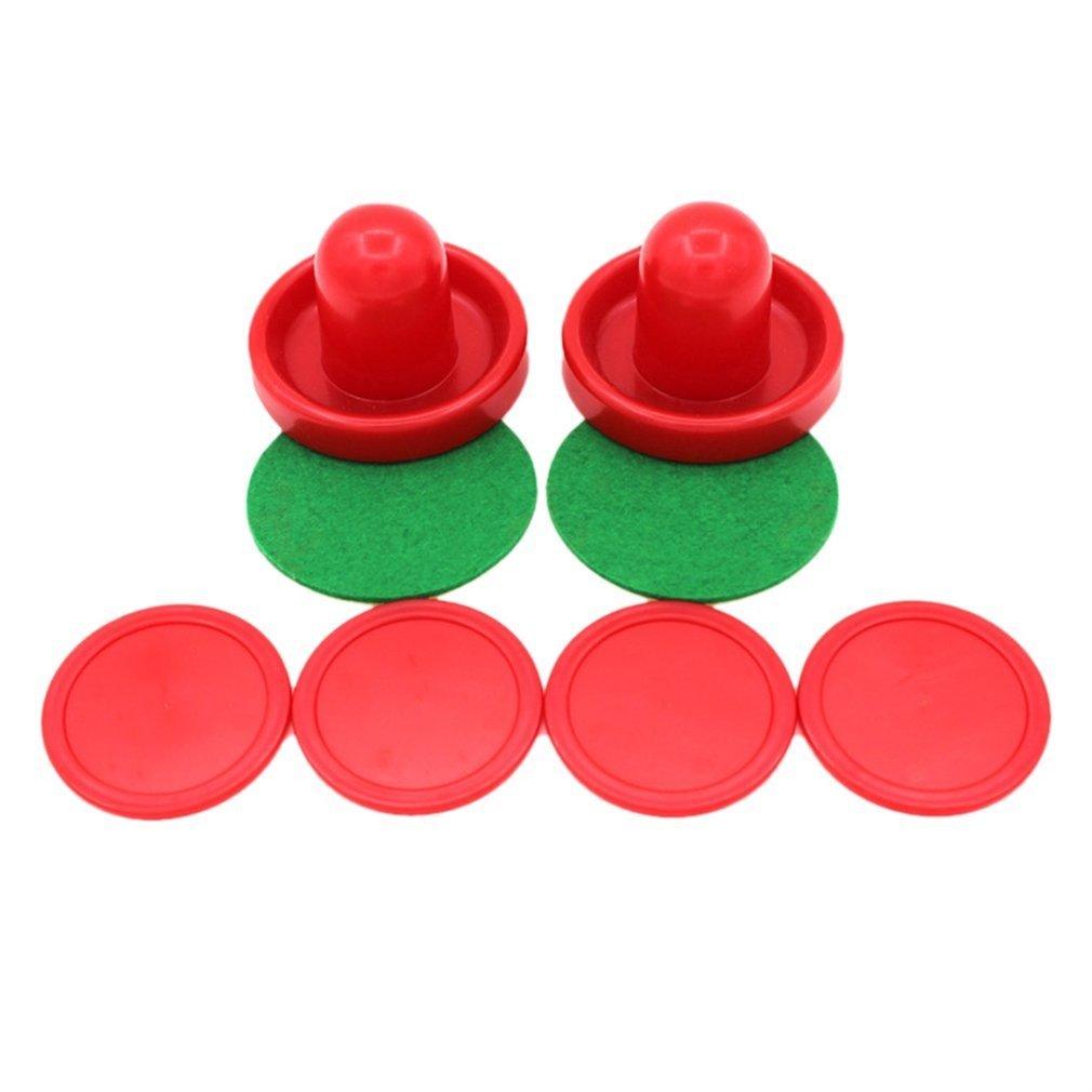 gugutogo Mini Air Hockey 60/76 / 96mm 2 Pusher Goalies 4 Pucks Filz Set fü r Spieltische (Farbe: Rot) (Grö ß e: 60mm)