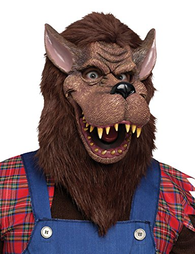 Big Bad Wolf Costume Mask (Fun World  Big Bad Wolf Mask Accessory, -brown, standard)