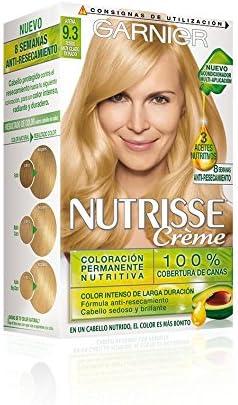 Garnier Nutrisse Creme Coloración Nutritiva Permanente, Tinte 100% Cobertura de Canas con Mascarilla Nutritiva de 4 Aceites - Tono 9.3 Rubio muy Claro ...