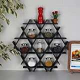 LaModaHome Cardboard Shelf 100% Corrugated Cardboard (20.5'' x 18.9'' x 2.8'') Black Triangle Hexagon Decorative Design Kitchen Storage Shelf Multi Purpose