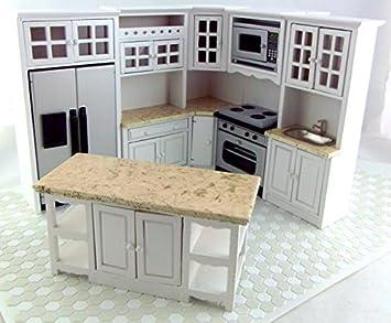 Puppenhaus Enganliegend Küchenmöbel Set Weißu0026 Marmor
